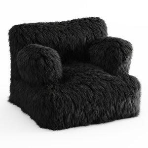 wool winter fox faux-fur 3D model
