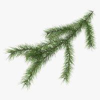 3D green pine branch