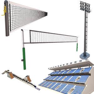 3D model sport elements tennis 3