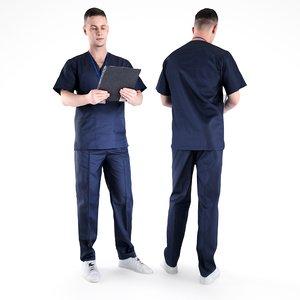 3D model human man uniform surgical