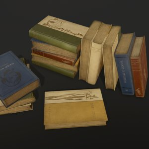 old books ready pbr 3D model
