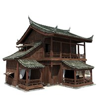 Chinese Old Wooden House 02
