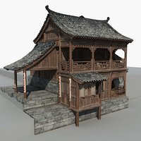 Chinese Old Wooden House 01