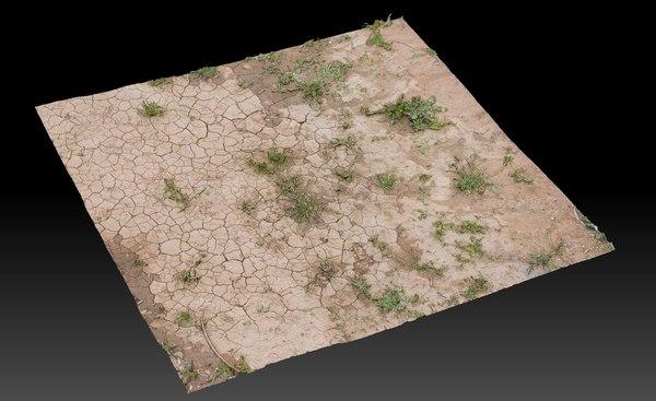 3D model dry cracked dirt