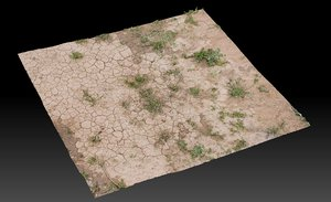 3D model dry cracked dirt