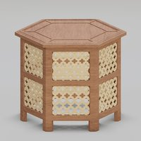 Hexagonal ornate Moroccan table