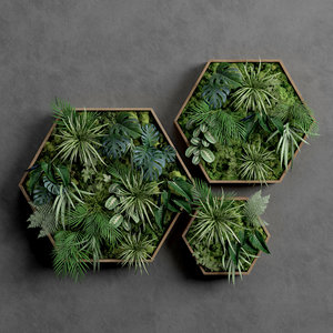 decorative green moss set 3D model