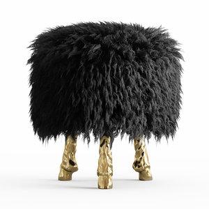 wool mongolian lamb chair 3D model
