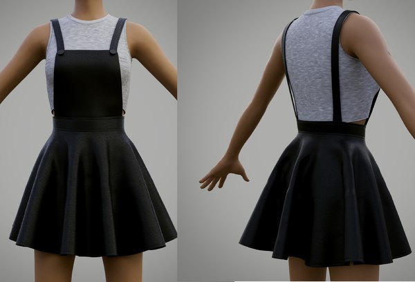 3D leather skater dress -