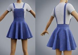 3D skater dress - denim