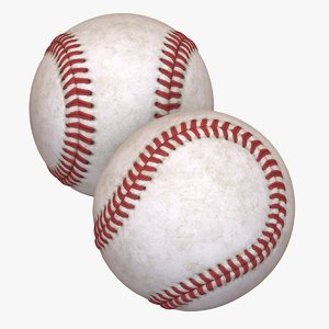 baseball ball dirt old 3D model