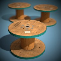 3D stylized wooden reel ready