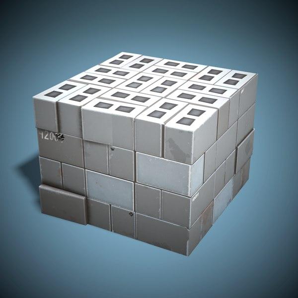 stylized cinder blocks ready 3D model