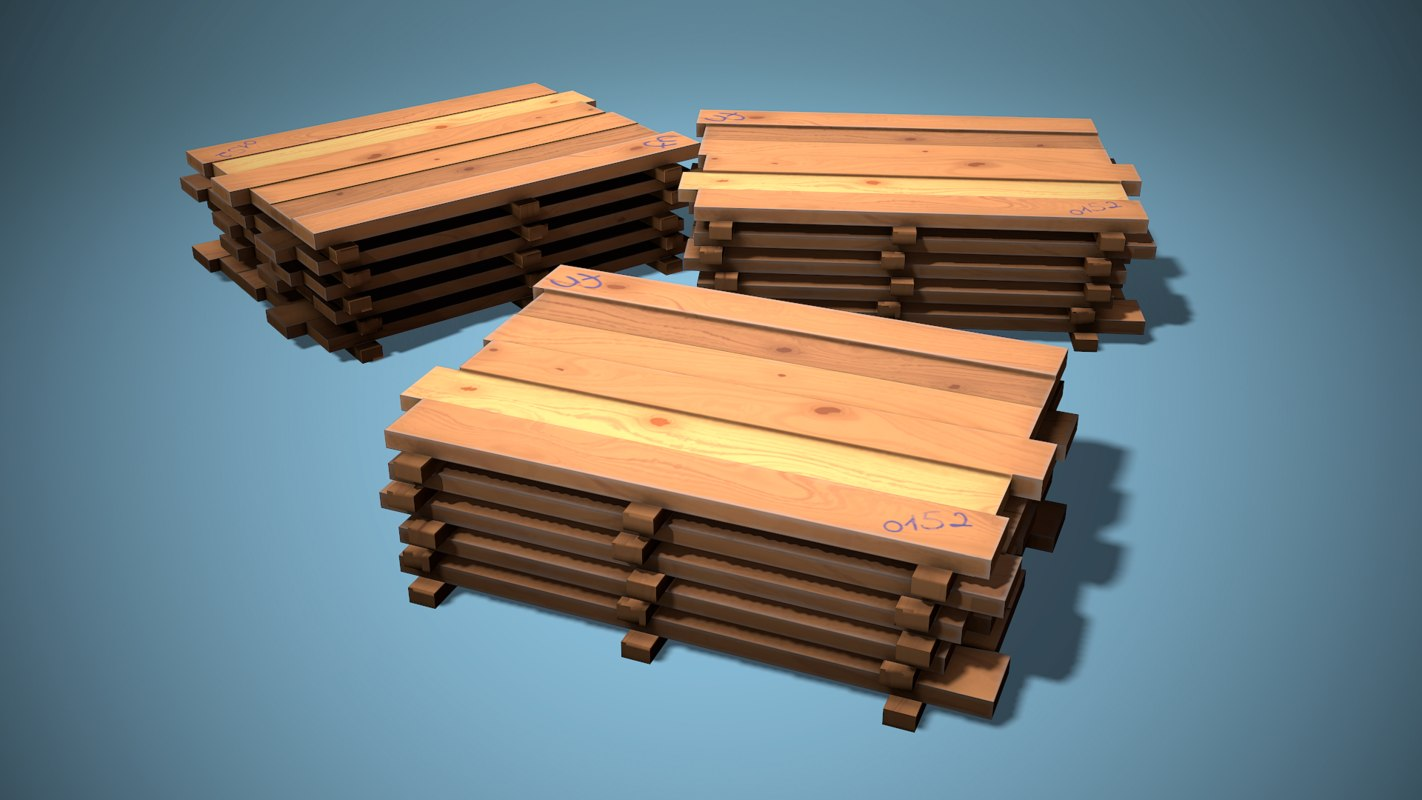 Planks Stack Game Ready Low Poly