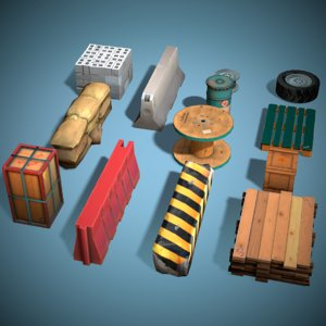 pack cover objects ready 3D model