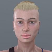 3D woman cloth hair
