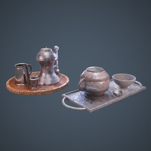 medieval tavern dish set 3D model