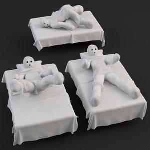 3D hospital zombie patient model