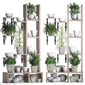 3D model vertical garden plants