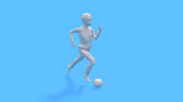 3D kid playing football ball