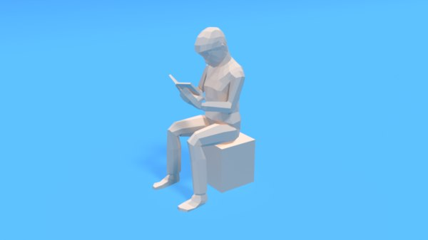 kid reading book 3D model
