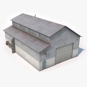 3D hangar industrial building