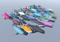 sea animals shark dolphin 3D model