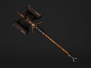 3D fantasy golden hammer - model