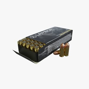 9mm ammunition bullets box 3D model