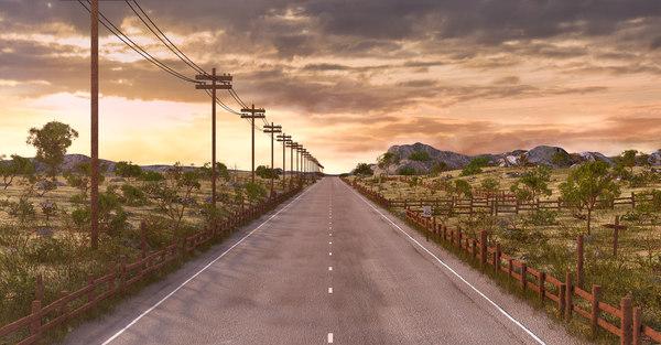 road sunset 3D model