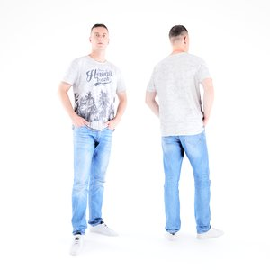 3D scanned human man casual