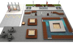 3D urban elements street