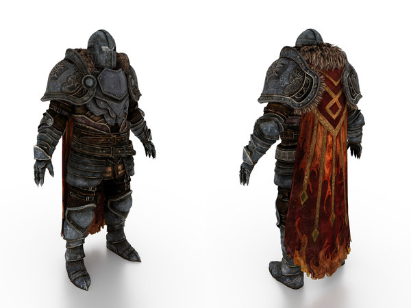 3D model soldier armor cape body