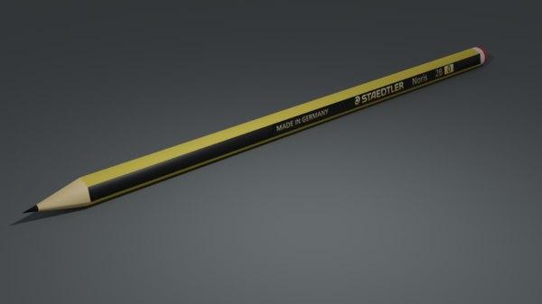 staedtler noris 2b pencil 3D model