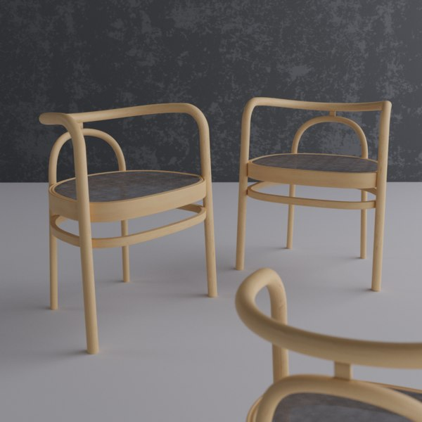 wooden chair fabric wood model