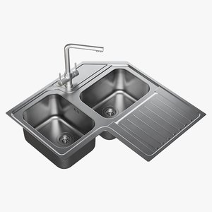 realistic sink alba mixer 3D model