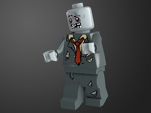 rigged ready zombie lego character model