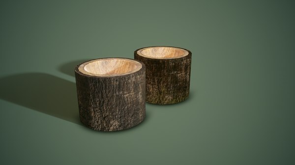 bark bowls 3D model