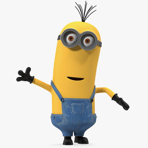 3D tall eyed minion rigged model