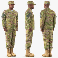 army soldier camofluage rigged 3D