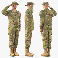 3D army soldier camouflage uniform model