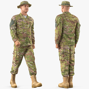 3D model army soldier camouflage uniform