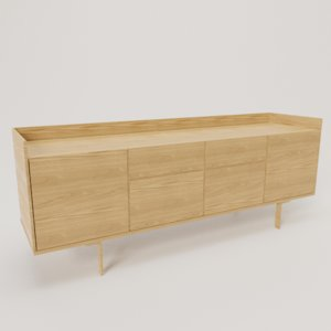 wooden sideboard 3D