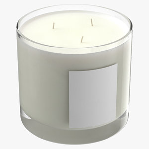 scented candle big glass 3D model