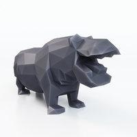 3D hippo hippopotamus model