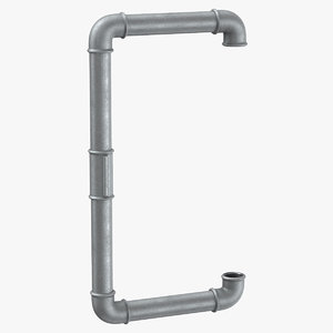 3D model galvanized steel pipe letter