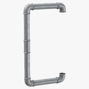 3D model galvanized steel pipe letter