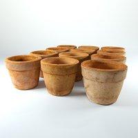 clay pots 4k - 3D