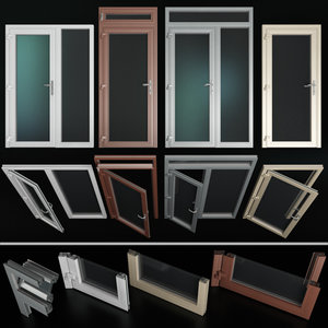 stained aluminum doors 3D