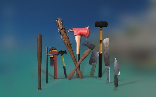 3D axe bat machete model